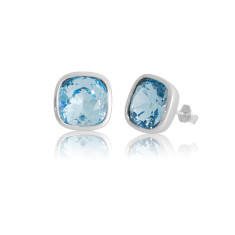 Aquamarine Cushion Stud Earrings