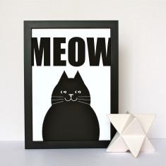 Meow Black Cat Print