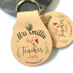 Personalised Teacher leather key ring