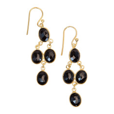 Chan Luu onyx small cascade earrings