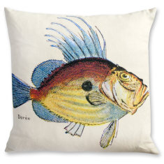 French Fish linen cushion cover