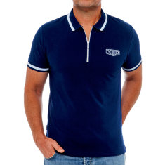 Classic navy men's polo with zipper