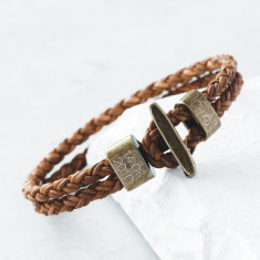 Personalised Men's Leather Toggle Clasp Bracelet