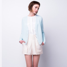 Rib-knit cloud cashmere cardigan in ice blue
