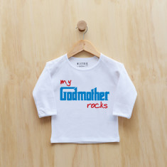 Personalised My godmother rocks long sleeve t-shirt in (blue or pink)