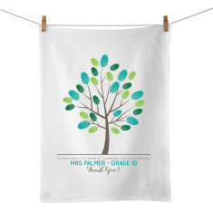 Teacher's fingerprint personalised tea towel