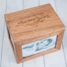 Personalised Christening Oak Photo Keepsake Box