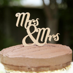 Wooden Mrs and Mrs traditional wedding cake topper