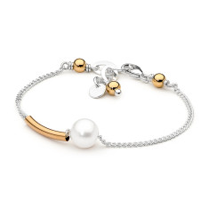 Sterling silver and gold fill bar pearl bracelet
