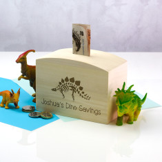 Personalised Dinosaur Wooden Money Box