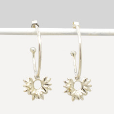 Bud Hoop Earrings in Sterling Silver