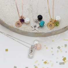 Personalised Birthstone Gemstone Charm Necklace