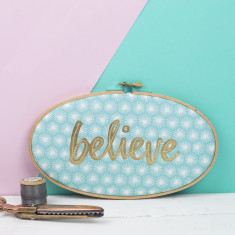 Believe Embroidery Hoop Artwork