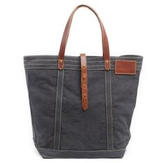 Canvas tote bag shopping bag with leather handle