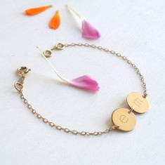 Personalised Gold Twin Initial Disc Bracelet