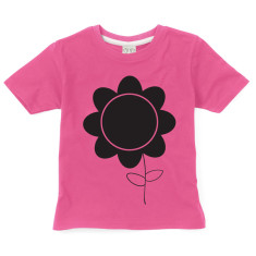 Kids' chalkboard t-shirt in pink flower design