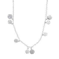 Urban stones long silver necklace with silver discs