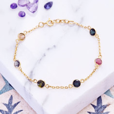 Sweetie station bracelet with multi tourmaline
