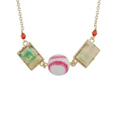 Baseball And Colourful Stone Necklace