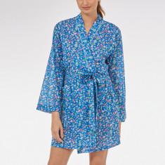 Short kimono robe in cobalt Isabel print