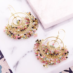 Sara double circle earring with tourmaline