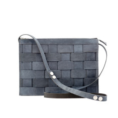 Leather Naver shoulder bag in Oily Navy