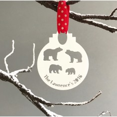 Personalised family polar bear bauble