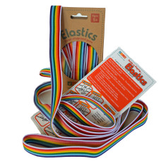 Rainbow coloured elastics playground game