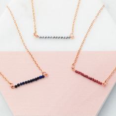 Perfectly petite natural stone bar necklace in rose gold