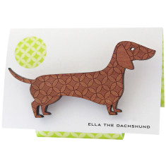 Ella the dachshund engraved wooden brooch