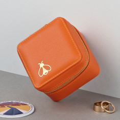 Embossed Travel Motif Luxury Soft Leather Jewellery Box