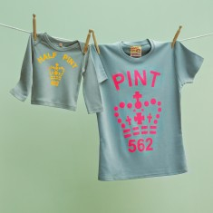 Matching pint and half pint t-shirt set for mum and son or daughter (citrus & grey)