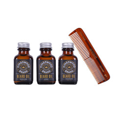 Beard oil three pack with beard comb