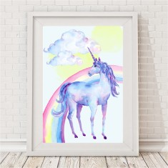 Watercolour Unicorn Rainbow Print