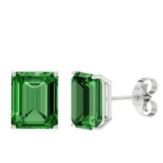 Emerald sterling silver stud earrings