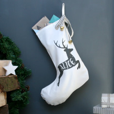 Personalised Reindeer Name Christmas Stocking