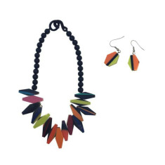 Biba Artisan Jagged Necklace Multi + Artisan Drop Earrings Set