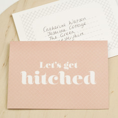 Let's get hitched wedding proposal card