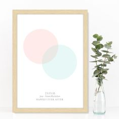 Personalised venn inspired wedding or anniversary print (various colours)