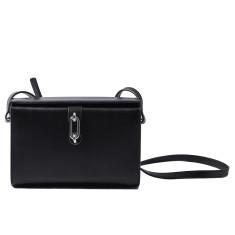 Black leather square shoulder bag/doctor bag