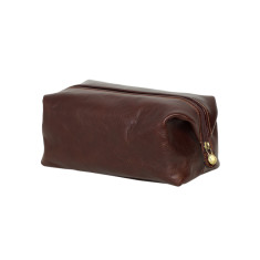 Toiletry leather organizer in choc