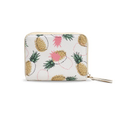 White Pineapple Design Vegan Leather Small Purse Wallet