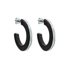 Silver Fez ebony wood hoop earrings