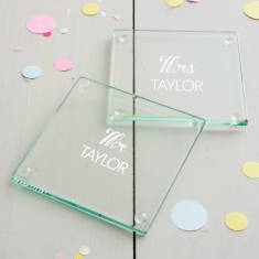 Personalised Mr And Mrs Wedding Coaster Set