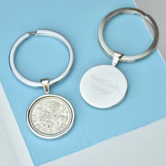 Lucky sixpence date coin key ring 1928-1967