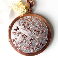 Cherry Blossoms... Engraved Vintage Copper Locket