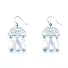 Celestial earrings in white dust
