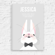 Runny Babbit Personalised Birth Canvas