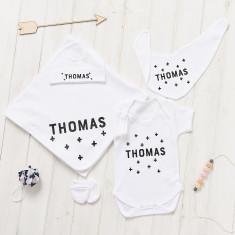 Personalised New Baby Scandi Crosses Gift Set