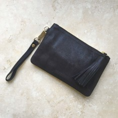 Mini Masai Mara clutch in navy metallic suede